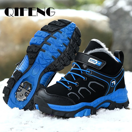 Warm Sneakers Boys Shoes Kids Walking Boots Winter Leather Fur Sport Shoes Brand