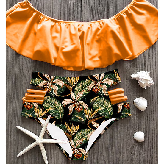 2021 Sexy Bikini Set High Waist Swimwear Women Printed Biquini Ruffled Swim