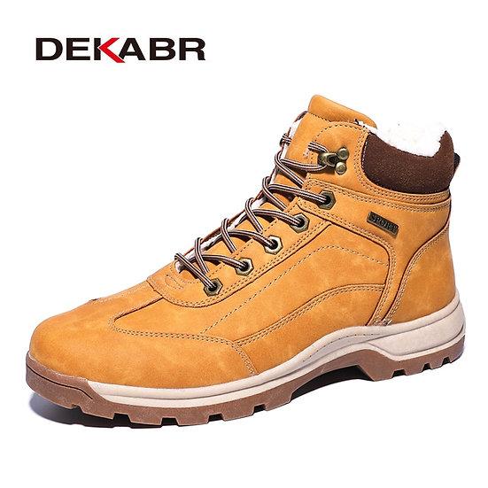 DEKABR Brand Genuine Leather Autumn Winter Warm Fur Classic Snow Boots Male Moto