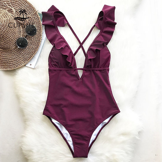 CUPSHE Burgundy Heart Attack Falbala One-Piece Swimsuit Women Ruffle V-Neck