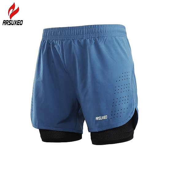 ARSUXEO 2-In-1 Men's Running Shorts With Waist Rope Quick Dry Zipper Pocket