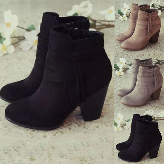 Women Ankle Boots Winter 2021 Fashion Suede Leather Boots High Heel Ladies Shoes