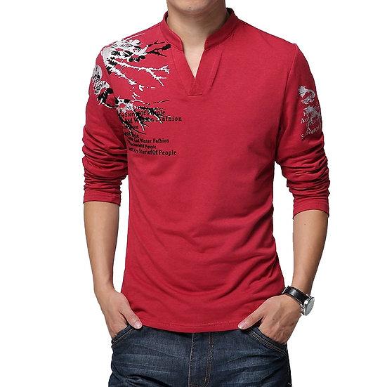 New Fashion Brand Trend Print Slim Fit Long Sleeve T Shirt Men Tee V-Neck Casual
