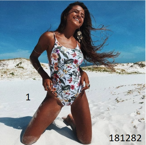Sexy One Piece Swimsuit Hollow Out Swimwear Women Monokini Print Bodysuit Bandag