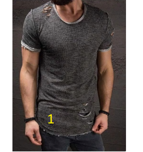 Fashion Summer Ripped Clothes Men Tee Hole Solid T-Shirt Slim Fit O Neck Sh