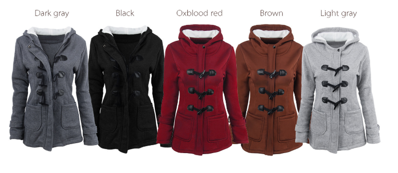Fashion Hooded Women Coat Pure Buckle Zipper Front Plus Size Jacket Autumn Thin