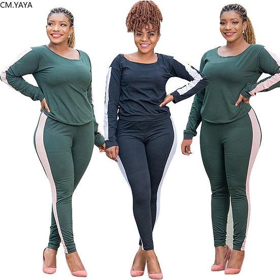 CM.YAYA Patchwork Plus Size XL-5XL Women's Set Long Sleeve Top Jogger Pants