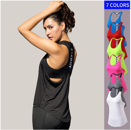 1 Gym Top Black Sleeveless Yoga Top Gym Women Shirt Fitness T-Shirts Dry W