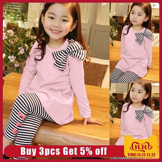 Autumn Winter 2PCS Toddler Kids Baby Girl Clothes Set Long Sleeve Bow T-Shirt