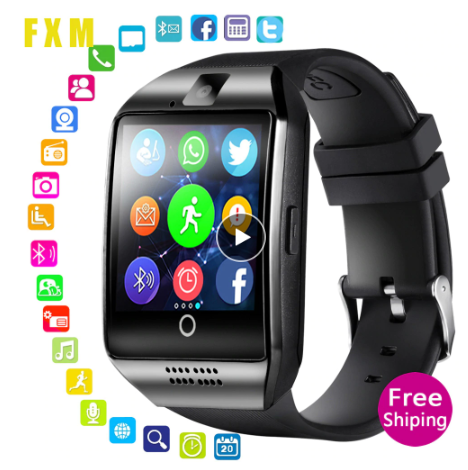 Q18 Bluetooth Smart Watch With Camera Support SIM TF Card Pedometer Men Women Ca