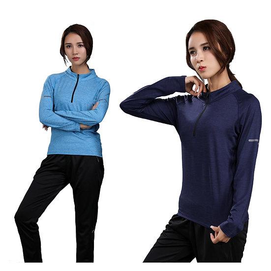 Fitness Woman Sports T-Shirt High Elastic Long Sleeve Stand Collar Zipper Quick