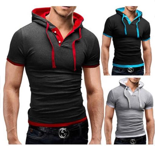 New Men Tshirt Hooded Tees Hot Sale Summer Cool Design T-Shirt Homme Fitnes