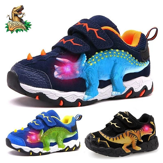 Dinoskulls 3-8 Boys Autumn Winter Shoes Dinosaur LED Glowing Sneakers 2020 Child
