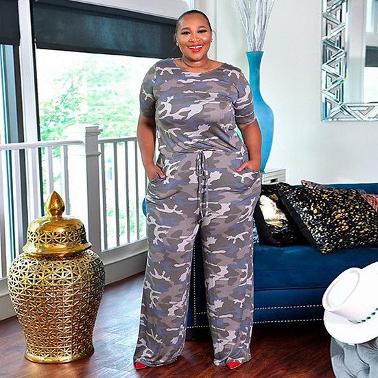 CM.YAYA Women Active Wear Camouflage Print O-Neck Short Sleeve Straight Jumpsuit