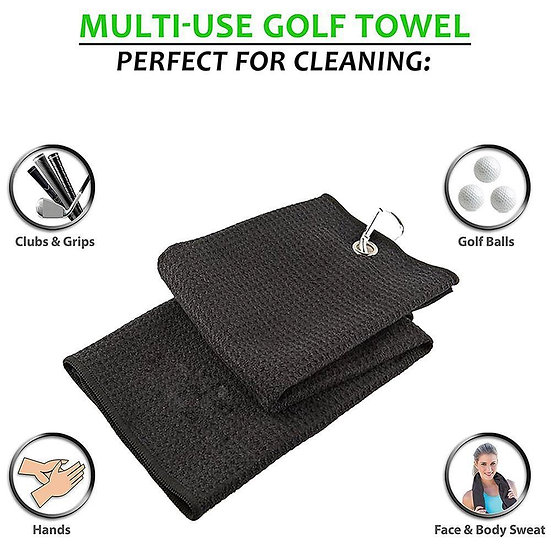 Golf Towel Waffle Pattern Cotton With Carabiner Cleaning Towels Microfiber Hook