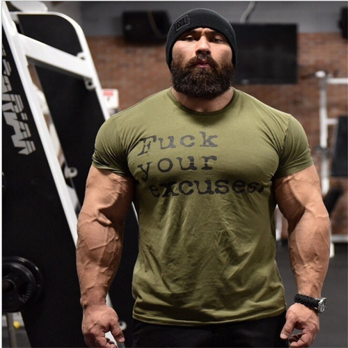 Men Brand Sport T-shirt Bodybuilding Breathable Cotton Shirts Men Short Sleeve W