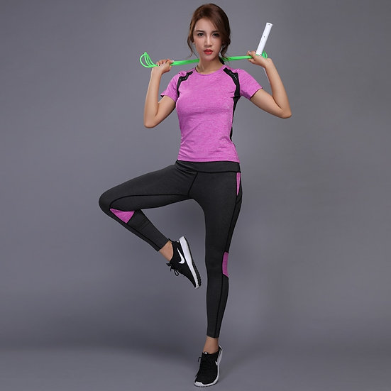 Women Gym Fitness Clothes Tennis Shirt+Pants Running Tights Jogging Workout
