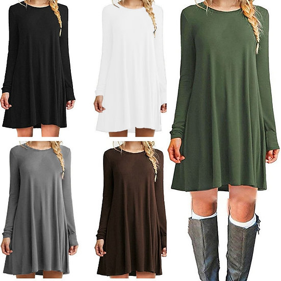 ONCE Casual Solid Womans Mini Dress Loose Simple Long Sleeve Autumn Leisure
