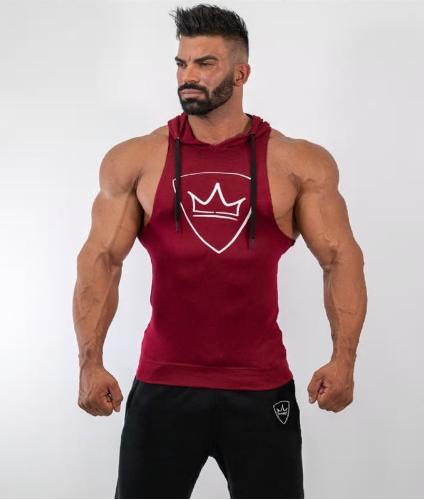 bcfb91e9 Men Bodybuilding Hooded Tank Top Cotton Sleeveless Vest Sweatshirt Gyms  Fitness