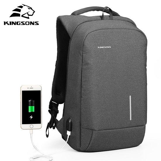 Kingsons Men's Backpack Fashion Multifunction USB Charging Men 13 15 Inch Laptop