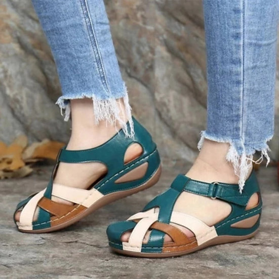 McCkle Woman Summer Leather Vintage Sandals Buckle Casual Sewing Women Shoes Fem