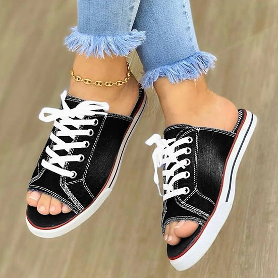 Woman Summer Shoes Women Sandals One Pedal Canvas Slippers Comfortable Flat Sand