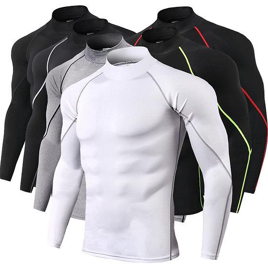 High Collar Compression Shirts Men Bodybuilding Sportswear T-Shirt Long Sleeve