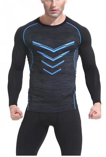 Quick Dry Sport Shirt Men Slim Fit Compression Top Long Sleeve V-neck Men's Runn