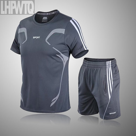 Men Casual Set Men's Sportwear Fitness Sets Fashion Summer Short Sleeve T-Shirt