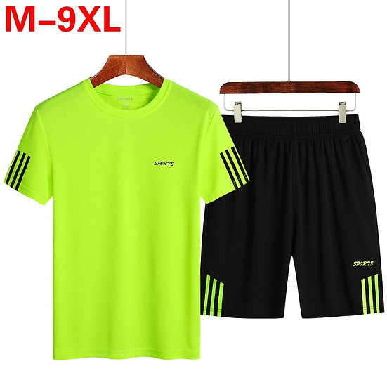 Plus Size 7XL 8XL 9XL Mens Two Piece Sets Top Shorts Sweatsuit Men Tracksuit