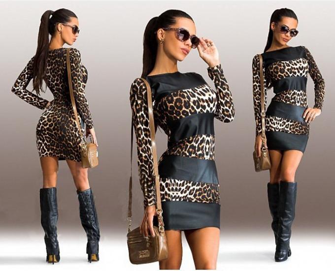 Women Bodycon Dress Sexy Leopard Leather Splice Long Sleeve O-neck Mini Club Dre