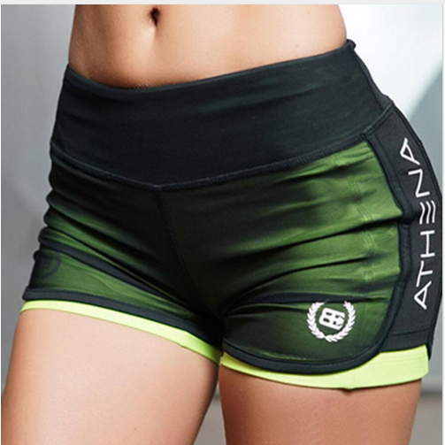 Aocessen women's sports fitness gym breathable mesh Yoga shorts pockets mention