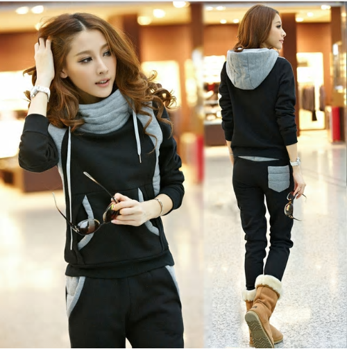 women tracksuit sportswear female winter velvet warm suit sweatshirt hoodied+pan