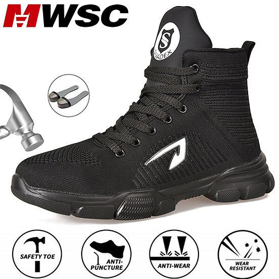 MWSC Safety Work Boots Shoes for Men Indestructible Steel Toe Cap Shoes All Seas