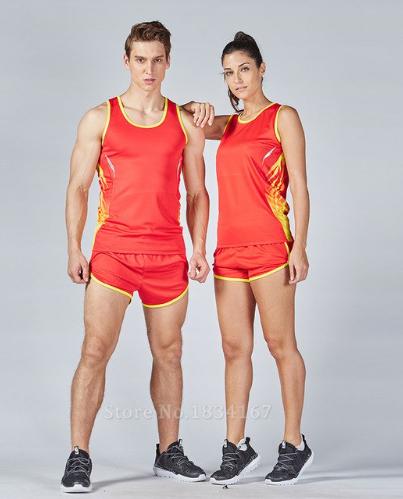 2pcs Running kits Men Sport Racing Suits Marathon Loose Vest+Shorts Track and fi