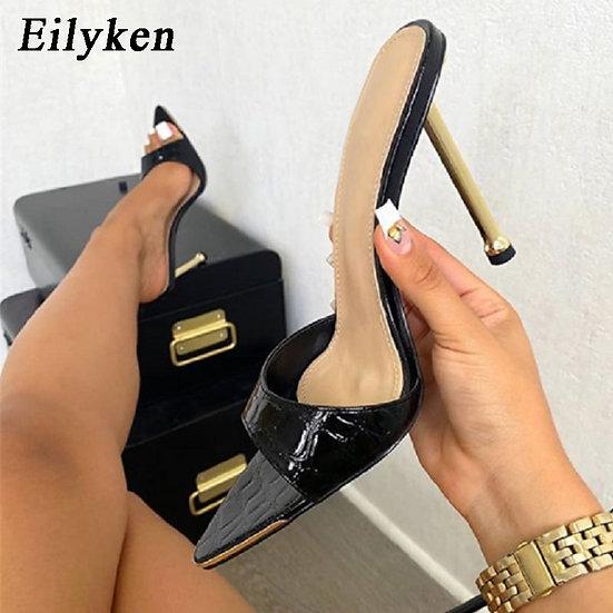 Eilyken Women Slippers Snake Print Strappy Mule High Heels Slippers Sandals Flip