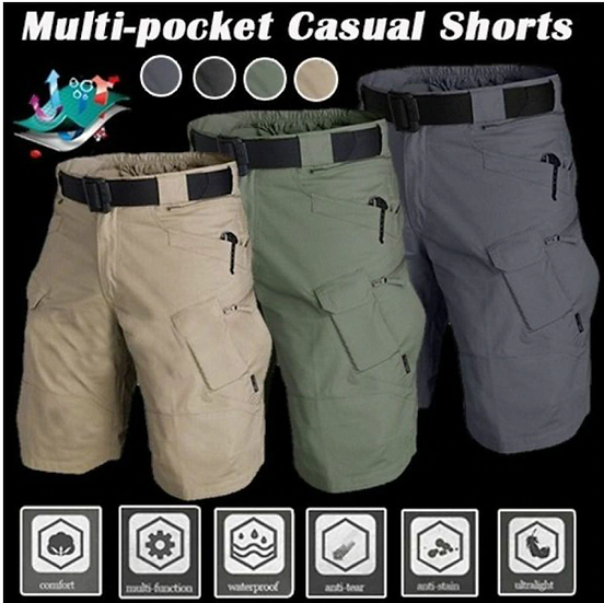 Summer Waterproof Mens Tactical Camouflage Shorts Military Multi Pocket Breathab