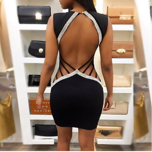 Women Bandage Bodycon Sleeveless Backless Party Cocktail Club Short Mini Dress