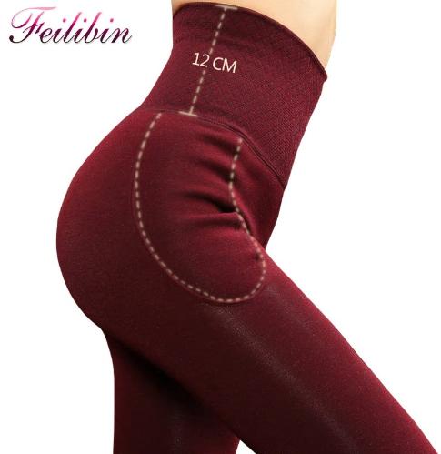 Feilibin Winter Women Leggings Thick Winter Warm Pants High Waist Slimming Thick