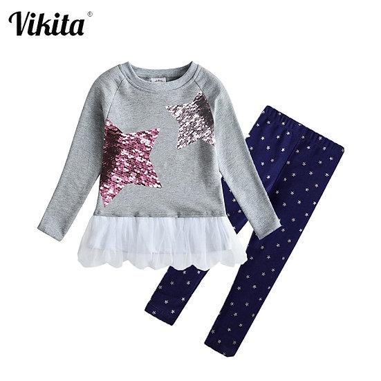 VIKITA Girls Spring Autumn Clothing Sets Star Unicorn Owl Sequins Kids Long