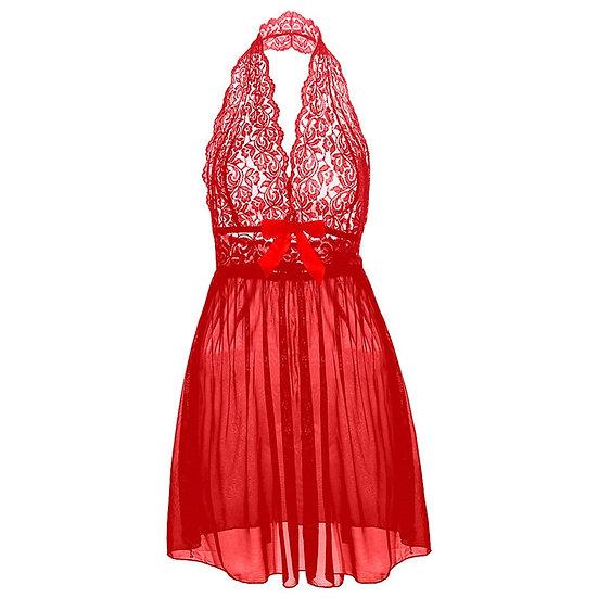 Plus Size Deep v Big Bow Women Lace Sexy Lingerie Dress Porno Costumes Nightwear
