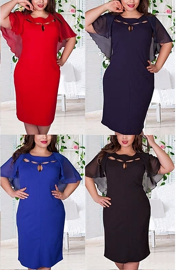 New Autumn Vintage Women Hollow Out Cape Red Black Blue Party Dress Short Sleeve