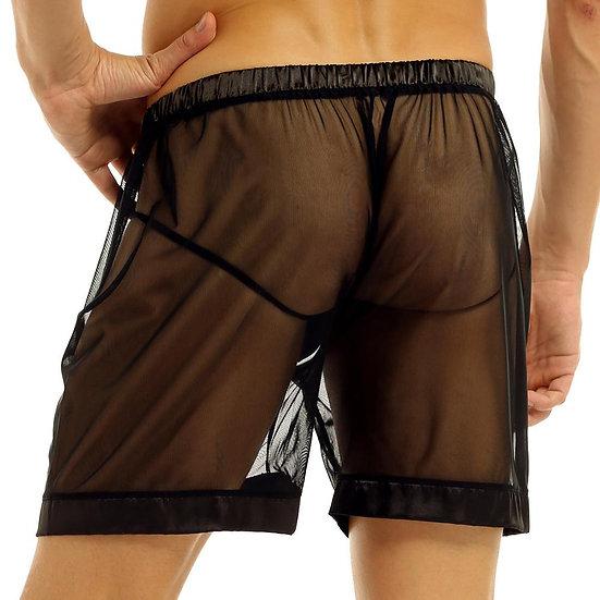 Mens Sexy Lingerie See-Through Mesh Slip Men Boxer Shorts Underwear Loose Lounge