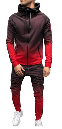 winter sports suit men 2019 Fashion Men Tracksuit Gradient Color Sport Sweat Sui
