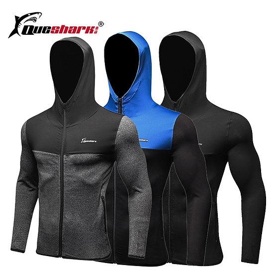 Queshark Men Zipper Hooded Running Jacket  Winter Autumn Sports Long Sleeve