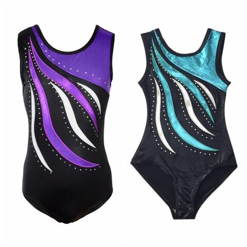*Toddler Girls Ballet Dress Sleeveless Diamond Bright Color Athletic Dance Leota