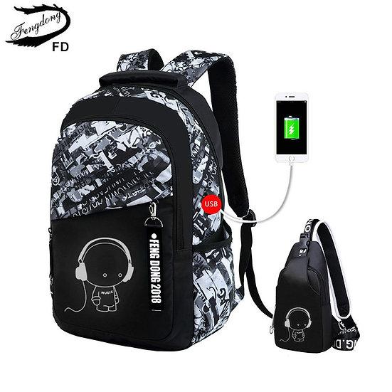 Fengdong Boys School Bags Waterproof Large Backpack for Teenagers Bagpack High