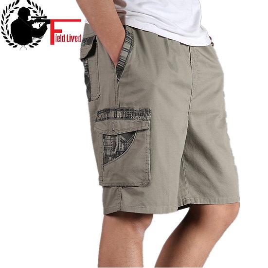 Men Short Summer Plus Size Cotton Elastic Waist Bermuda Hot Loose Baggy Army