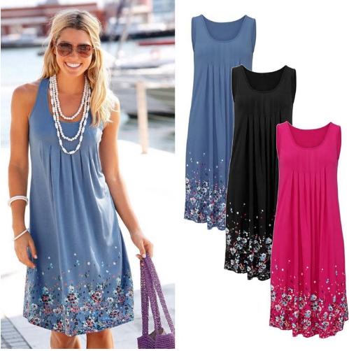 Sleeveless Floral Print Loose Dress Fashion Six Colors Casual Women Dress Robe F
