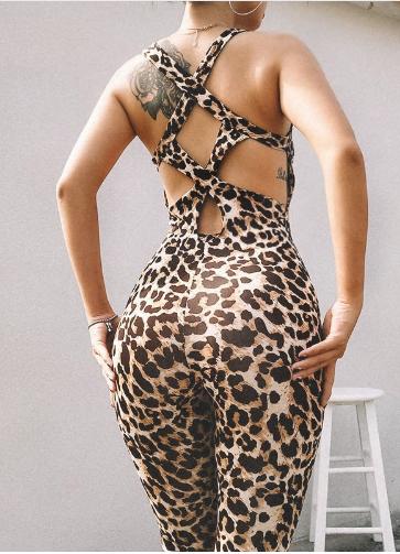 Jumpsuit Women's Tight Leopard Print Sports Fitness Running Yoga Pants Hollow Pa